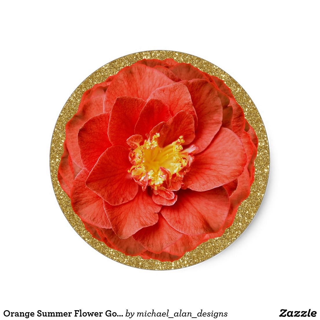 Orange summer flower gold glitter round sticker