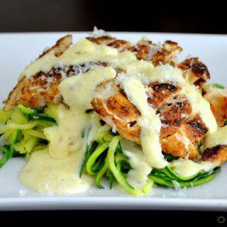 Blackened Chicken Alfredo w/ Zucchini Noodles | OMGFOOD