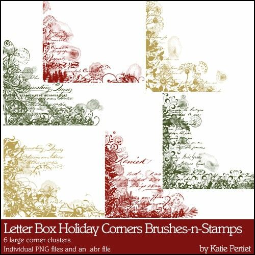 Letter Box Holiday Corners Brushes and Stamps- Katie Pertiet Brushes- DS817327- DesignerDigitals