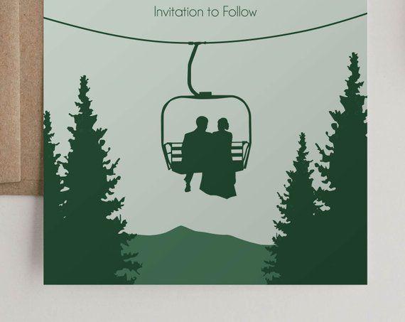 Save the Dates Mountain Winter Wedding Announcement Ski Wedding Save the Date Mountain Destination Wedding Ski Lift Save the Date Magnet