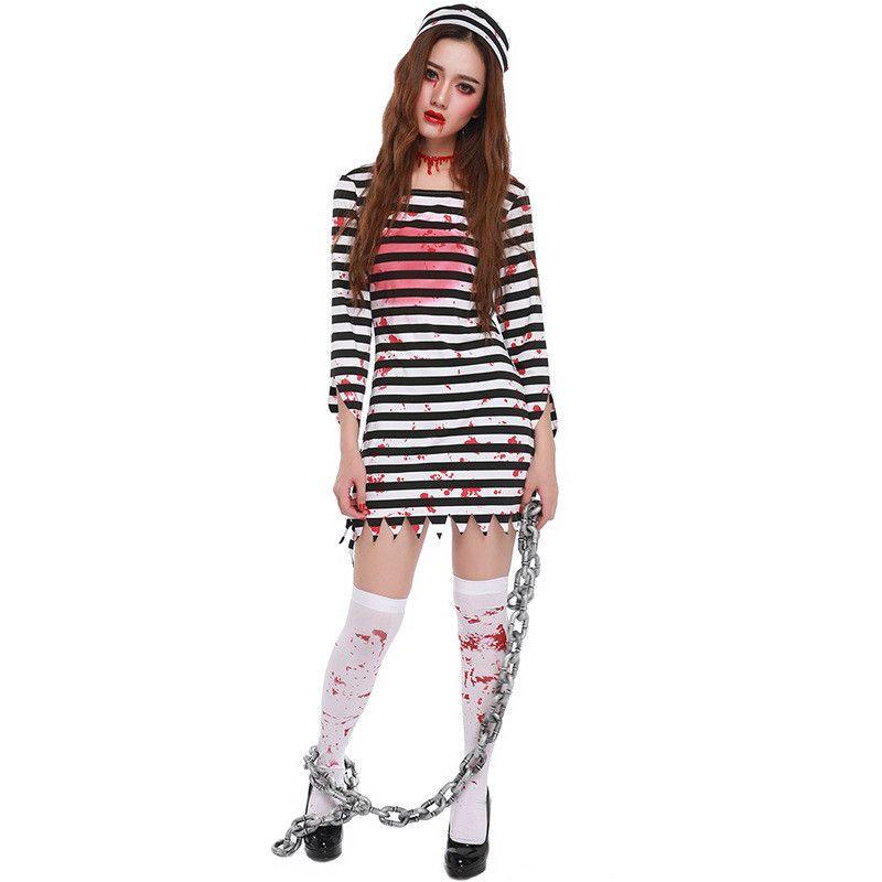 Takerlama Convict Criminal Zombie Black White Stripe Prisoner Costume Halloween Costume Party Cosplay Woman Walking Dead  sc 1 st  Pinterest & Takerlama Convict Criminal Zombie Black White Stripe Prisoner ...