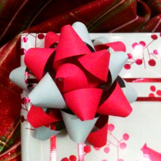 Present bows made from strips of paper!