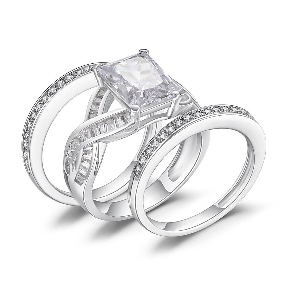 69c52ef51b564d Emerald Cut White Sapphire 925 Sterling Silver Women's Bridal Ring Set  Lajerrio Jewelry