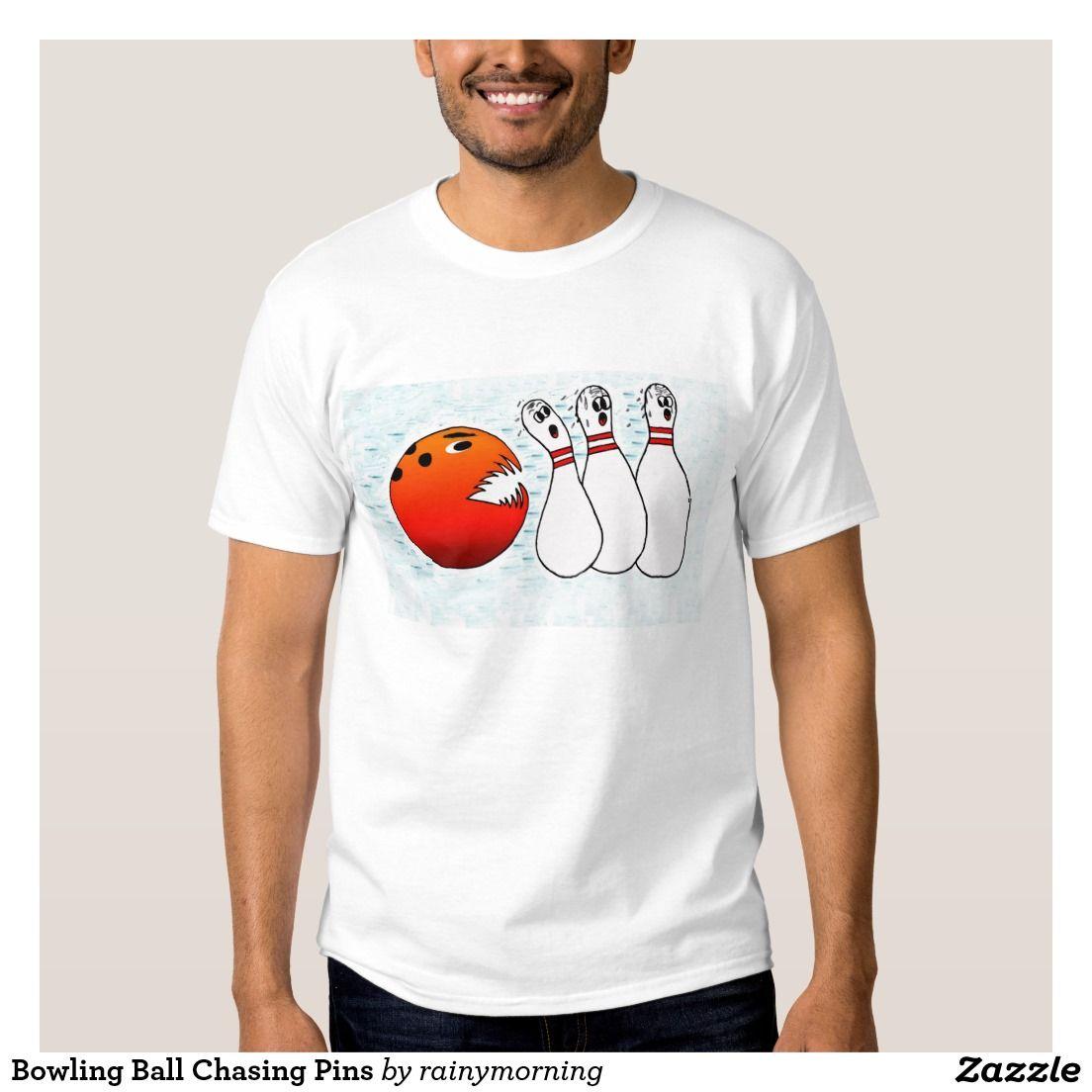 Zazzle t shirt design size - Bowling Ball Chasing Pins T Shirt