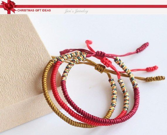 1c59be8596931 Original Multi Color Tibetan Buddhism Handmade Knot Lucky Rope Bracelet Red  Yellow and Multi Bangle