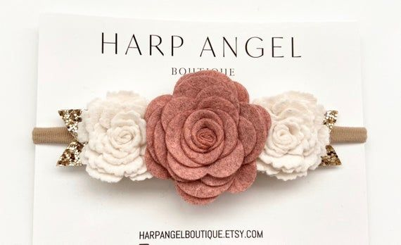 Dusty Pink & Ivory Wool Felt Rose Flower Crown Headband or Hair clip Newborn / Baby / Toddler / Girls / Adult / Blush Pink / Dusty Rose #crownheadband
