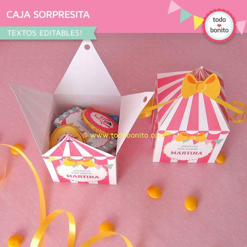 Caja para golosinas carpa de circo niñas | Number 1 | Pinterest ...