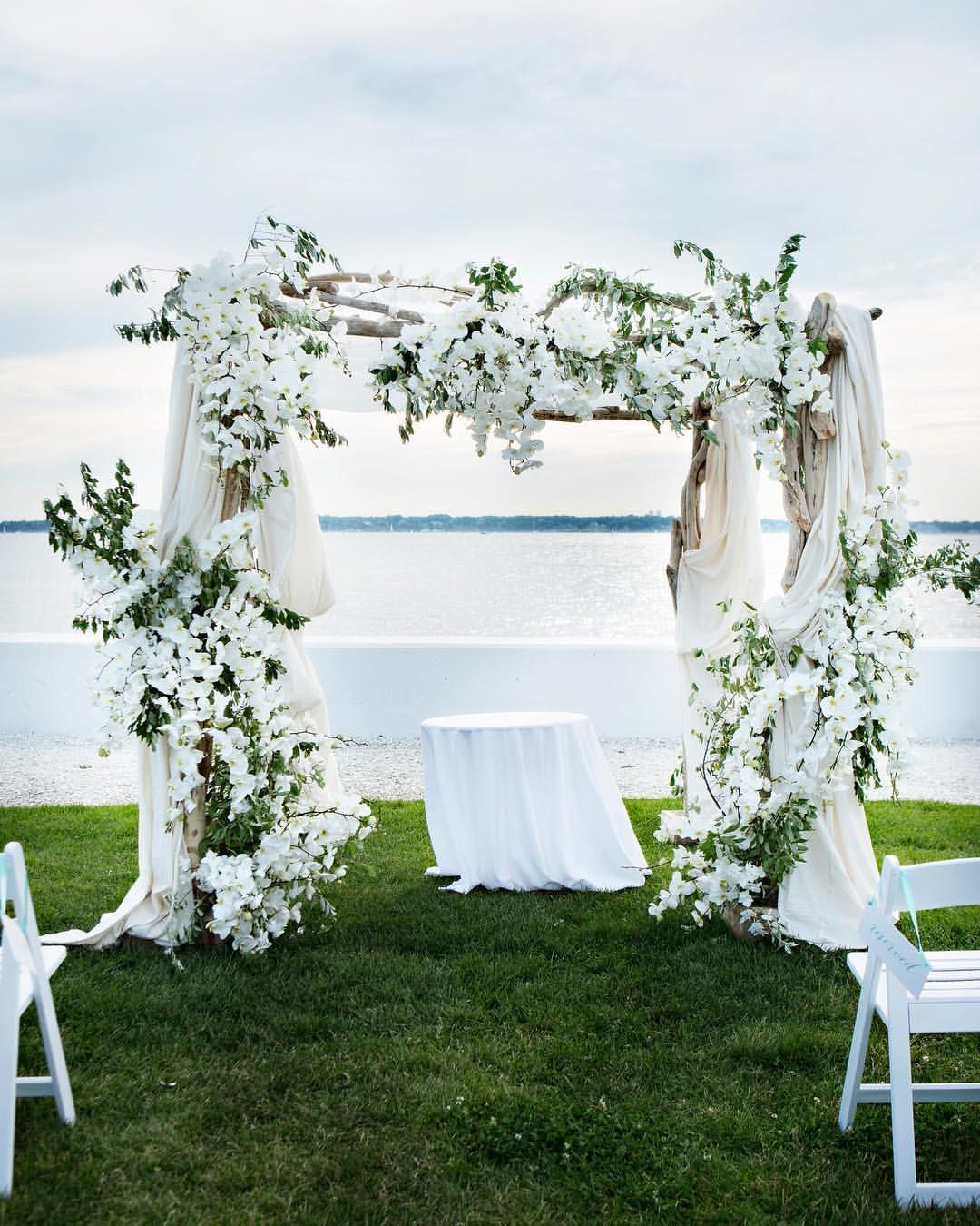 Give Me A Ceremony Backdrop Like This Any Day Photograph Belle Mer Wedding Ceremony Backdrop Waterfront Wedding Ceremony