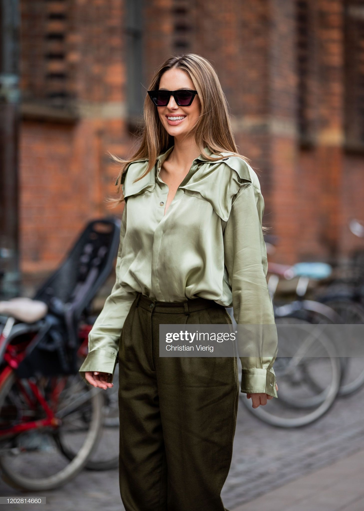 Mathilde Goehler Wearing Olive Pants Boots Button Shirt Seen Olive Pants How To Wear Copenhagen Fashion Week