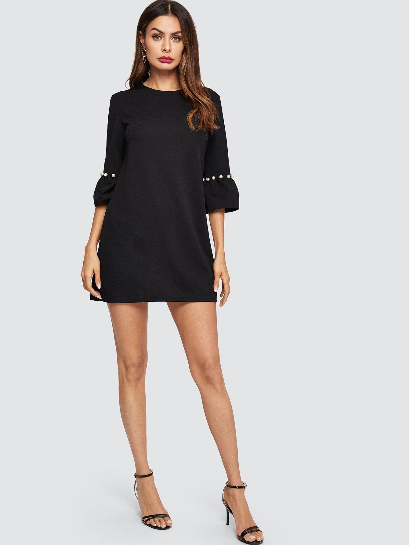 ee040a032b52 Elegant Tunic Pearls and Beaded and Zipper Plaid Sheath Trapeze Round Neck  Three Quarter Length Sleeve Flounce Sleeve Natural Black Short Length Pearl  ...