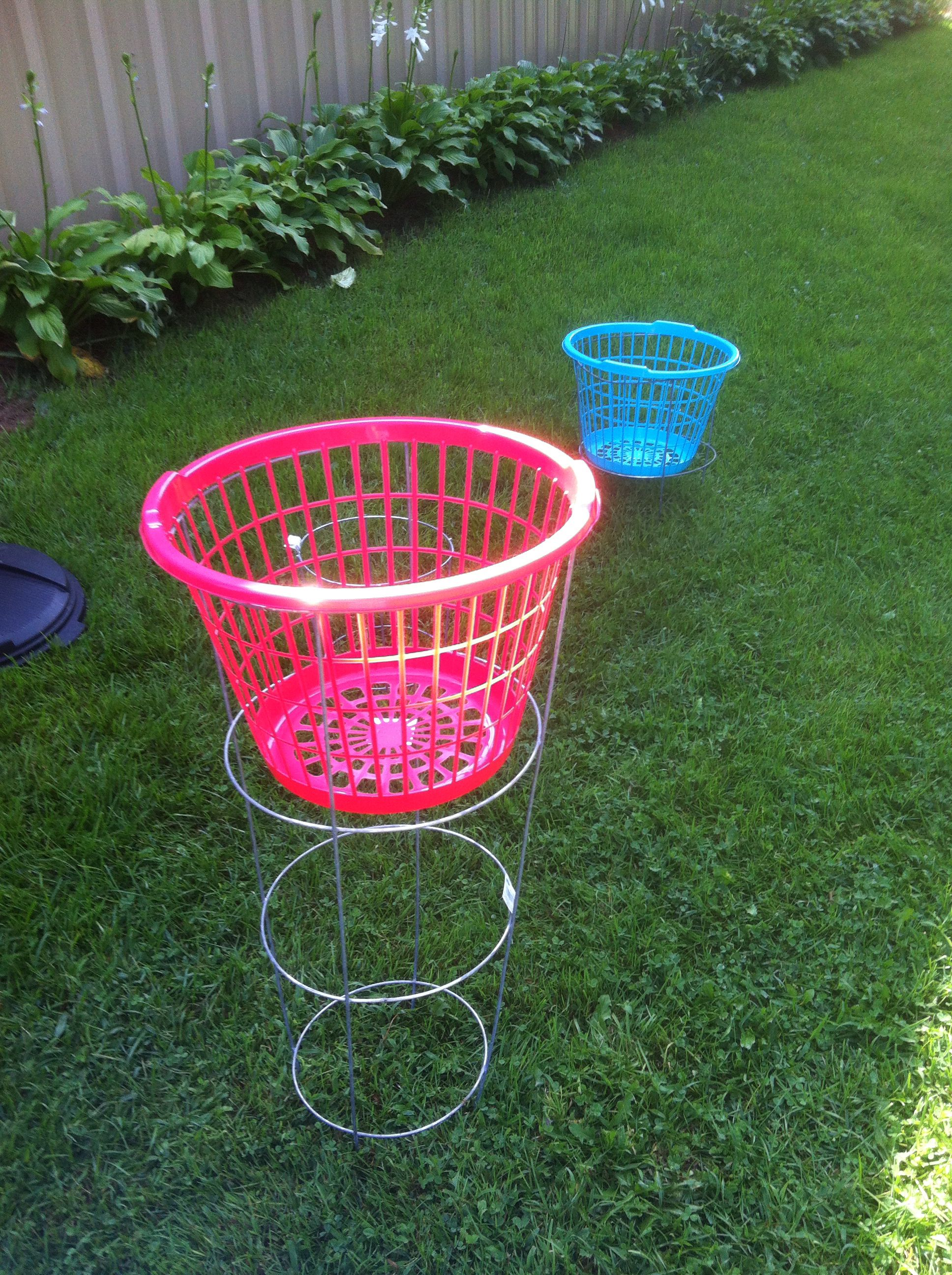 Disc golf from dollar store basket and tomato cage