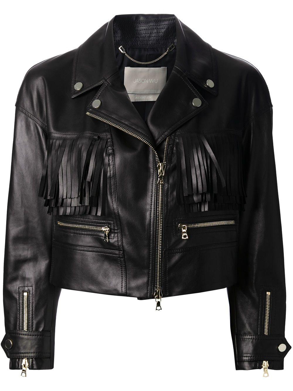 Jason Wu Cropped Biker Jacket Cropped Biker Jacket Leather Jackets Women Designer Leather Jackets [ 1334 x 1000 Pixel ]