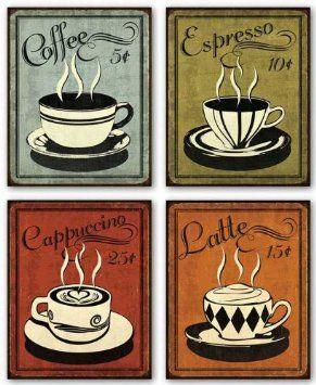 "Amazon.com - Retro Coffee Set by N. Harbick 8""x10"" Art Print Poster - Kitchen Decor Coffee"