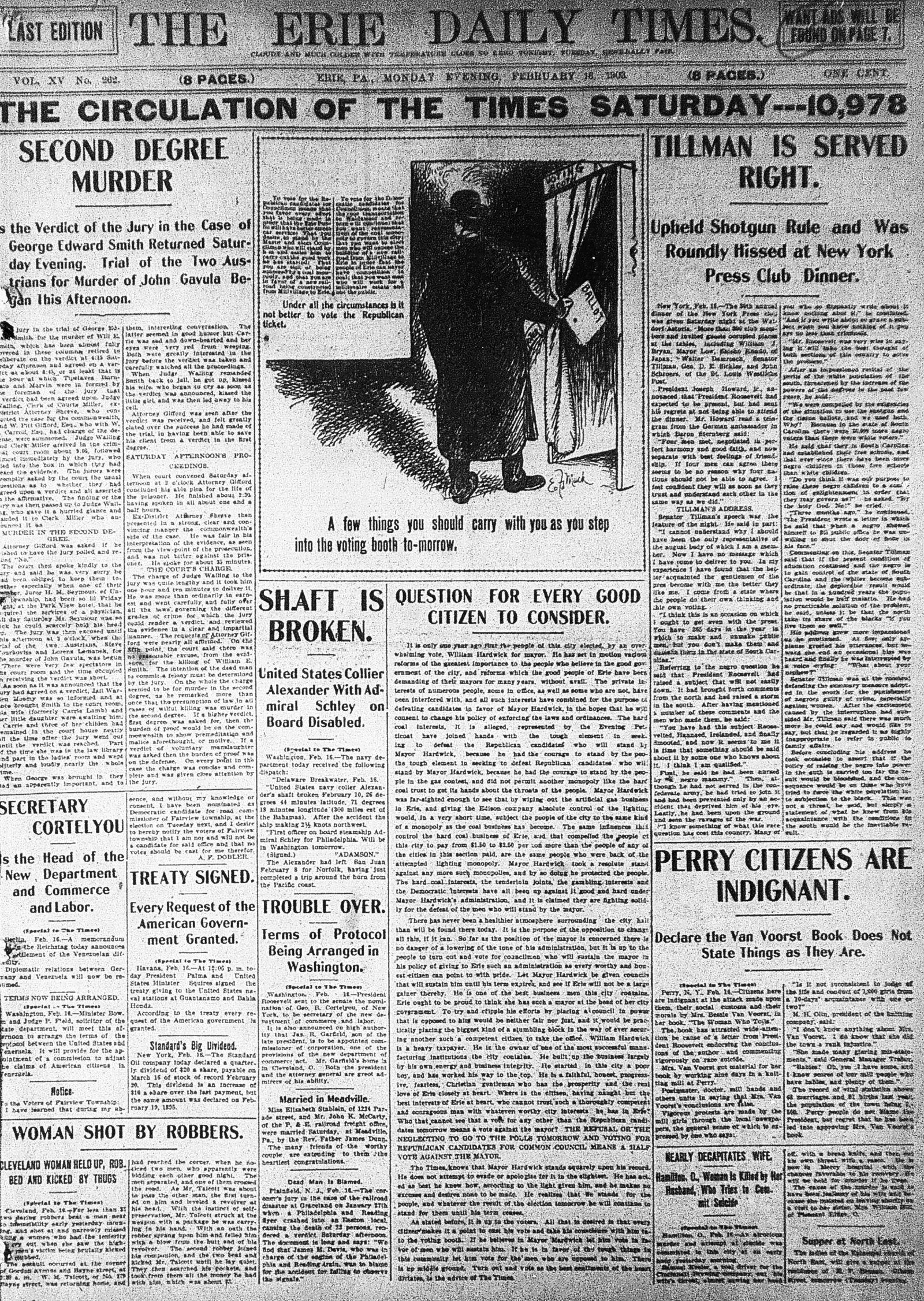 Feb. 15, 1903 Newspaper cover, edwards, The verdict