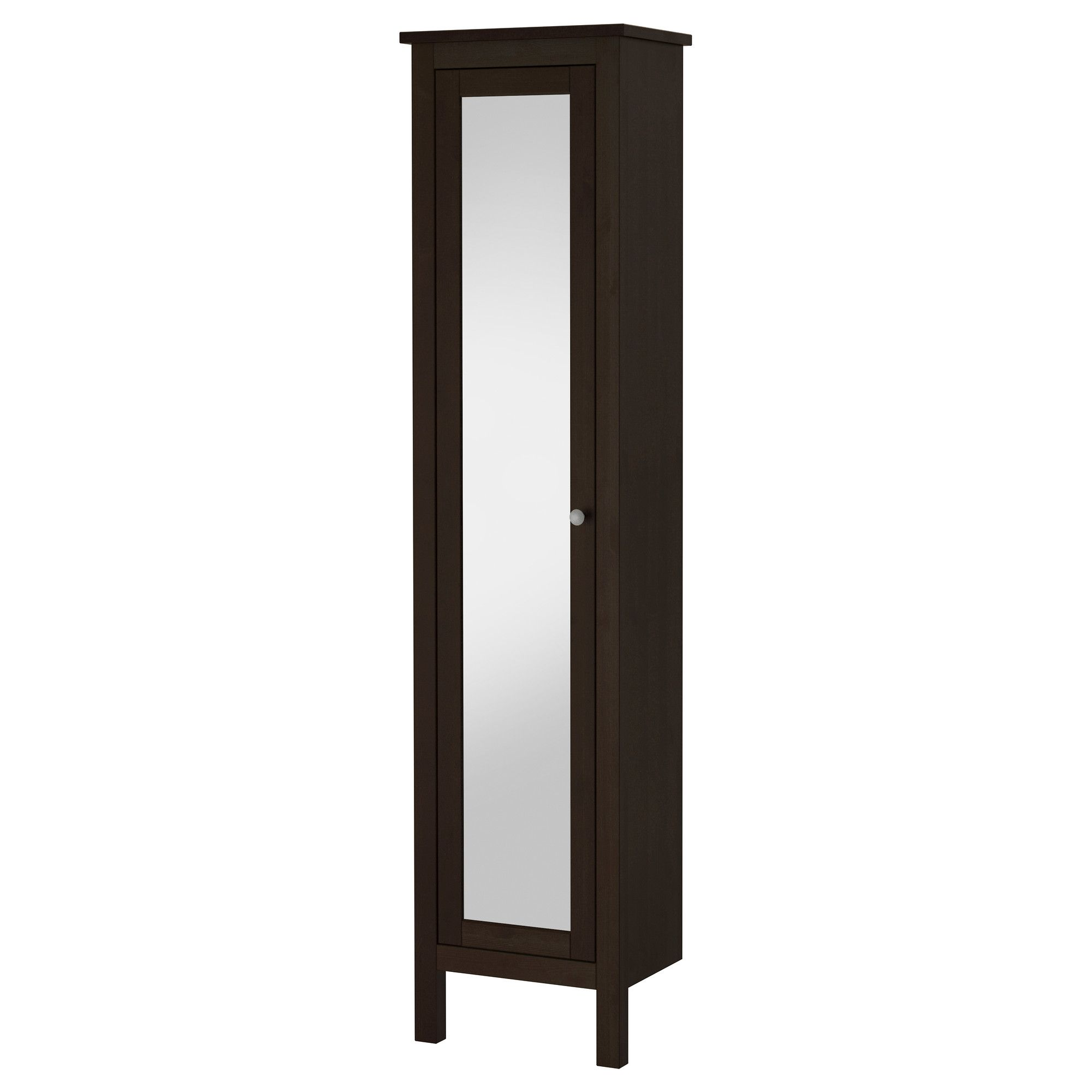 HEMNES High cabinet with mirror door, black-brown stain | Pinterest ...