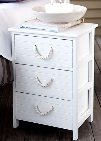 Nautical nightstand - attach thick rope handles in white for a  sophisticated cottage look; could embellish further w/ silver, sea-themed  pulls or actual ...