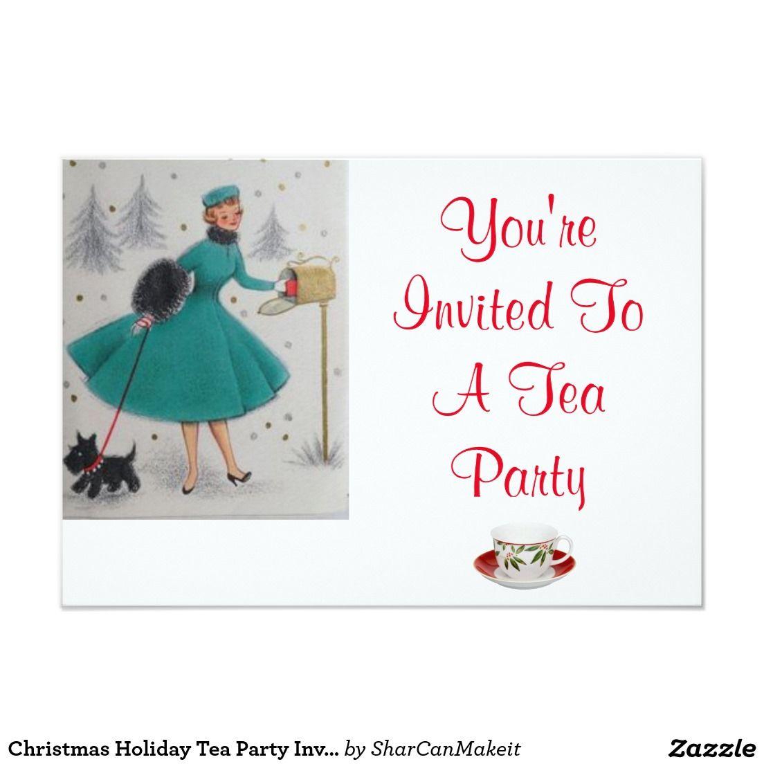 Christmas Holiday Tea Party Invitation #christmas #holiday #tea ...