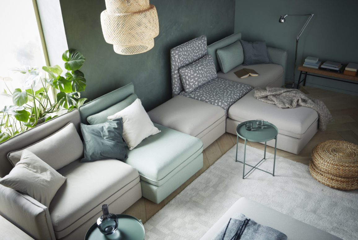 #5: VALLENTUNA Small Space Sleeper Sofa System
