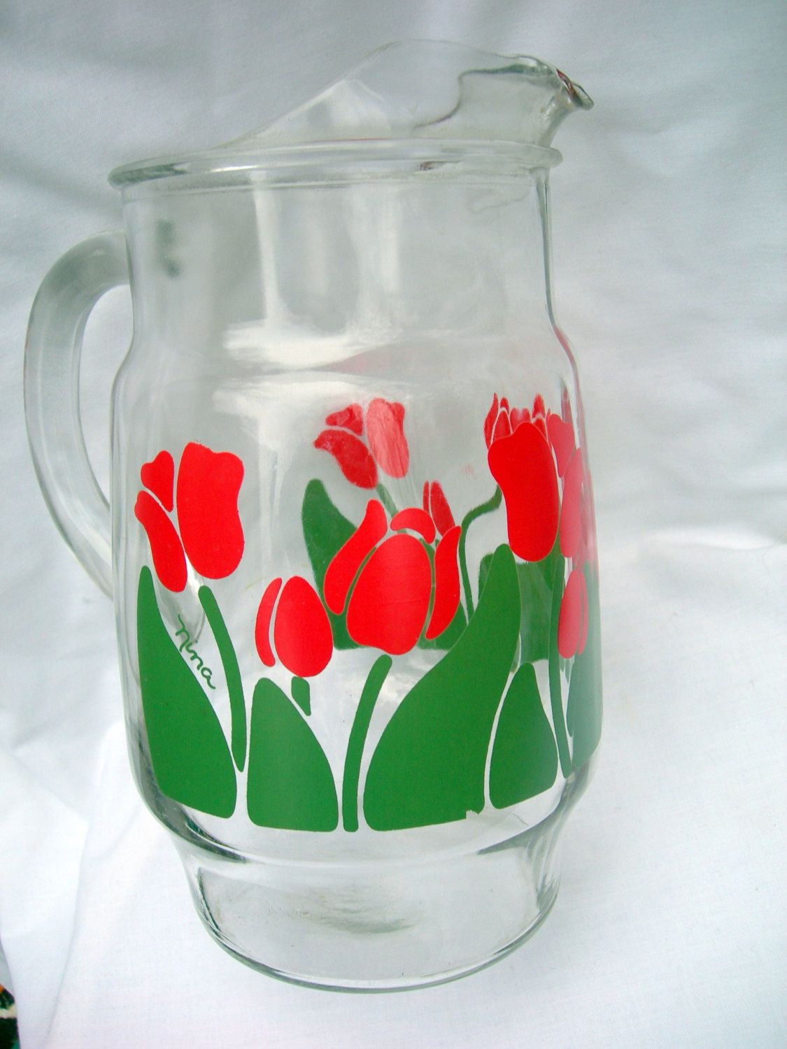 Vintage Glass Pitcher With Red Tulips By Nina Larger Size Etsy Vintage Glass Pitchers Red Tulips Pitcher