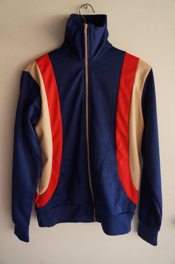Vintage 70's Tracksuit Top Blue Tan Red Medium