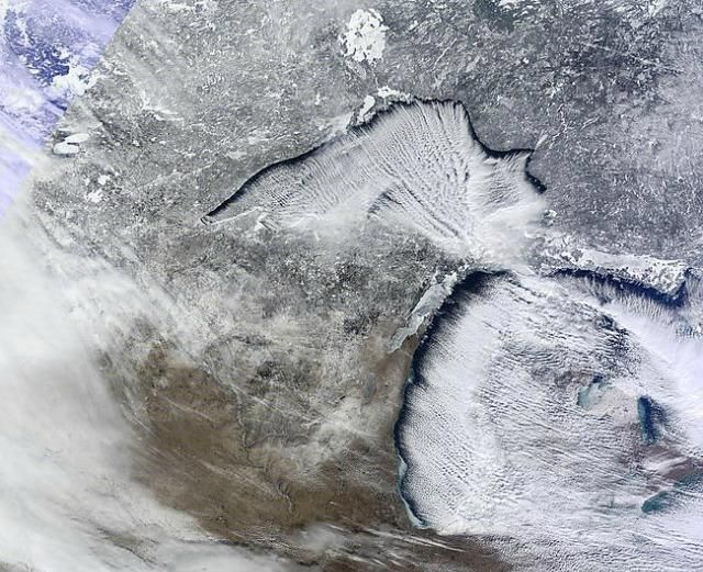 This Is A True Color Image From The Nasa Terra Satellite Taken On Tuesday January 22 2013 Talk About Lake Effect Snow Pure Michigan Michigan Lake