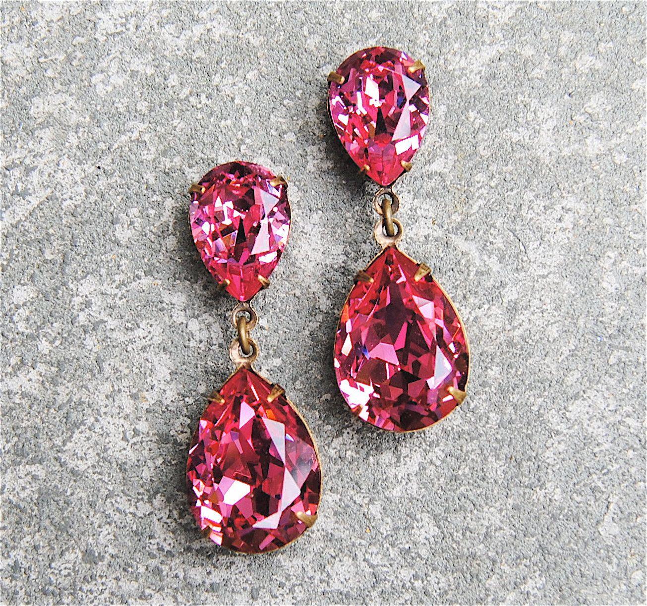 Bridal Tear Drop Ruby Crystal Colored Danglers