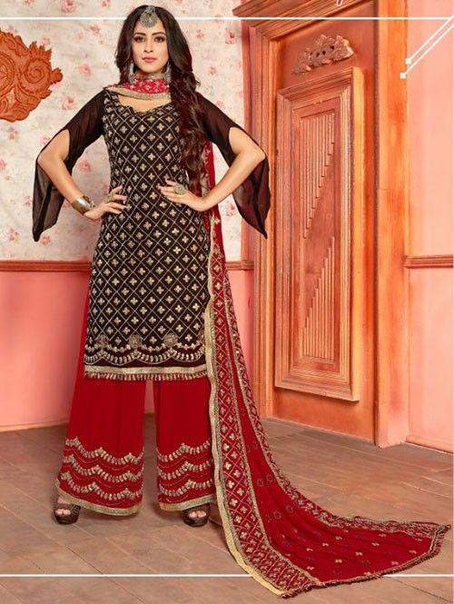Black Colored Beautiful Embroidered Georgette Pakistani ...