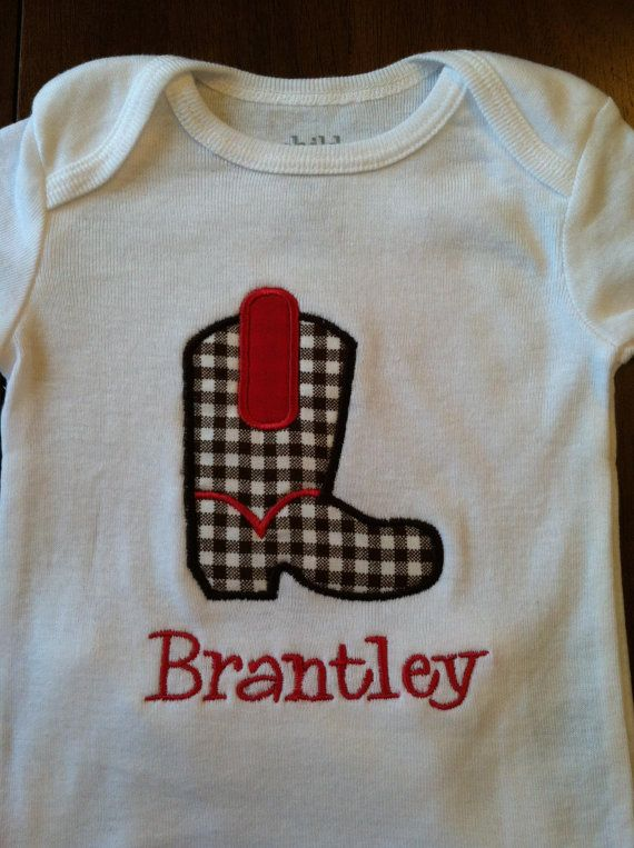 Boot Applique Onesie or Shirt by BaileyKinz on Etsy, $15.00