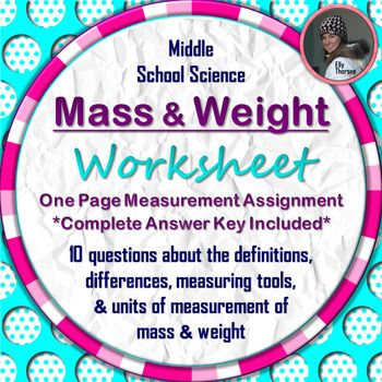 mass and weight worksheet a science measurement resource mass volume etc measurement. Black Bedroom Furniture Sets. Home Design Ideas