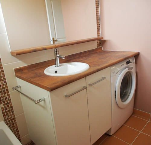 Gagnez de l 39 espace dans votre salle de bain en encastrant le lave linge sous le plan de - Machine a laver dans salle de bain ...
