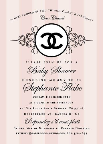 Reserved for jill coco chanel baby shower invitation coco chanel for an upcoming baby shower i am planning filmwisefo