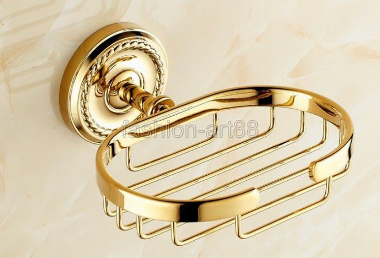 Luxury Gold Color Br Wall Mount Bathroom Accessory Soap Dish Holder Fba607