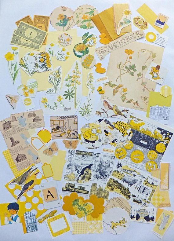 Yellow Scrapbooking Paper Pack Collage Papers Paper Scraps Paper