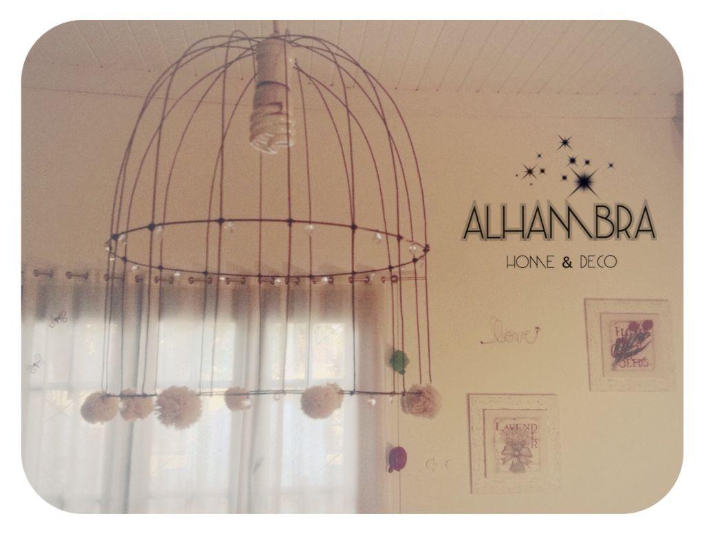 Lampara lighting fil de fer iluminacion pompom shabbychic vintage birdcage bird cage jaula