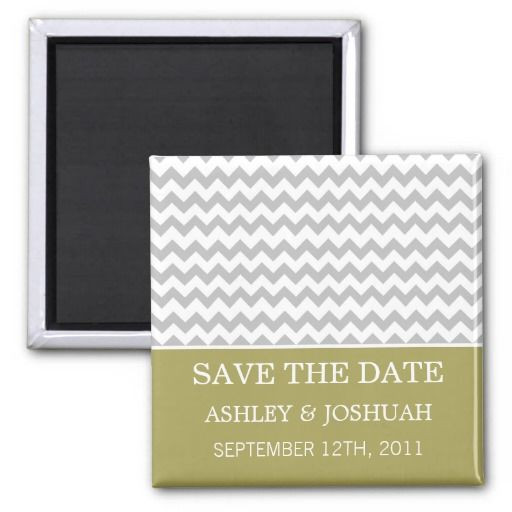 Green & Gray Chevron Save The Date Magnets