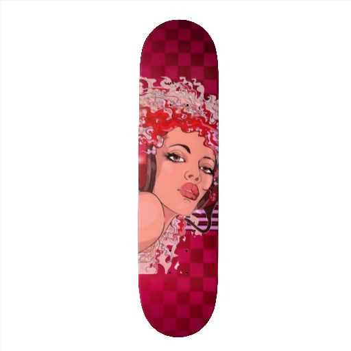Redhead in Headphones Checkered Skateboard