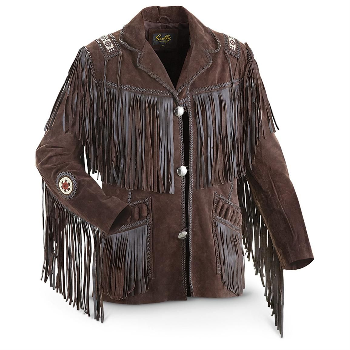 Leather jacket with fringe - Scully Fringe Western Jacket Brown Front