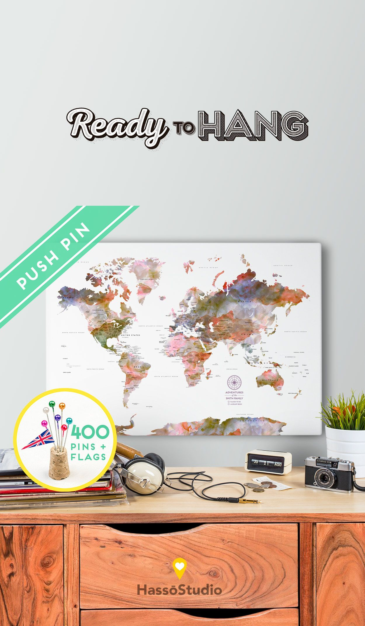 Personalized large world map canvas ready to hang canvas wrap explore these ideas and more personalized large world map canvas gumiabroncs Choice Image