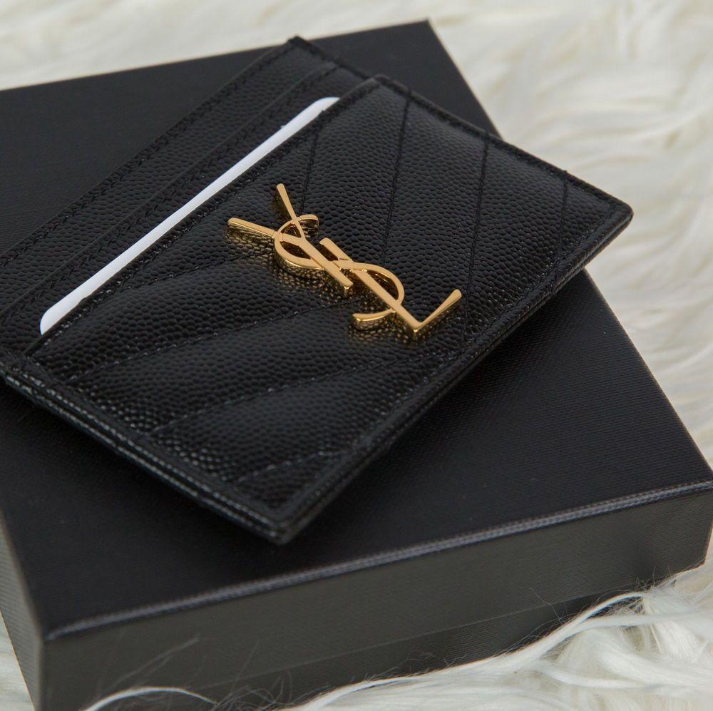 best loved c78a4 24af9 Details about Saint Laurent YSL Monogram Leather Card Holder Case ...