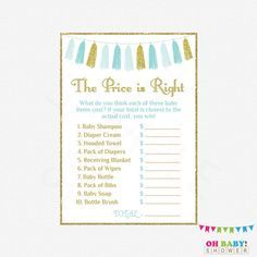 The Price Is Right Blue Gold Baby Shower Games By Ohbabyshower