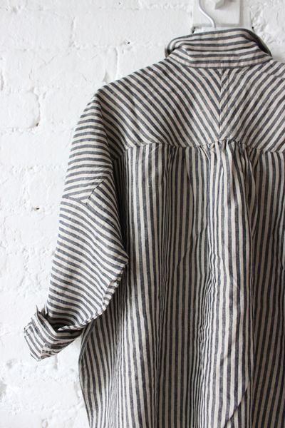 d701840d98 Ichi Antiquites Gather Linen Shirt in Black White Stripes via Rennes.  (Beauty + Utility  Discover elevated essentials   minimalism.co)