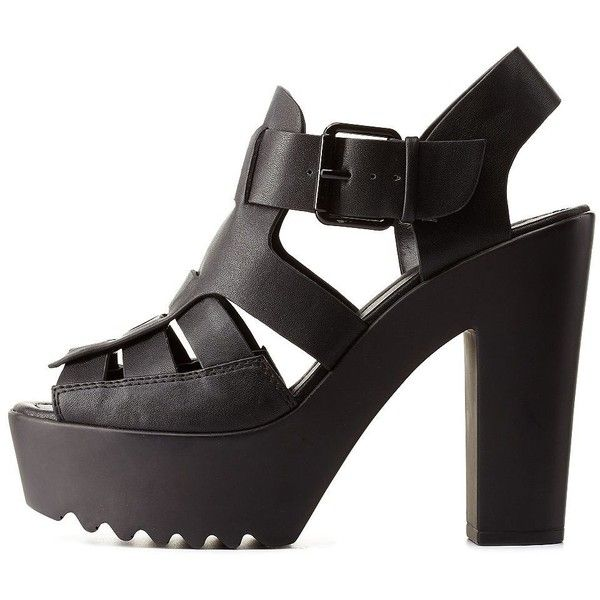 Charlotte Russe Black Huarache Platform Chunky Heels by Charlotte... (340 ARS) ❤ liked on Polyvore featuring shoes, sandals, heels, black, black sandals, heeled sandals, black high heel sandals, high heel shoes and black platform sandals
