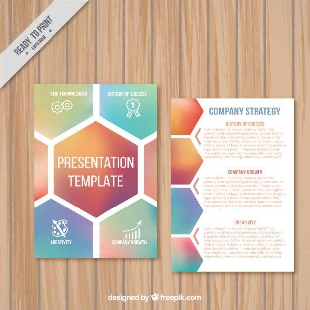modelo de apresentação empresa com hexágonos Presentation - booklet template