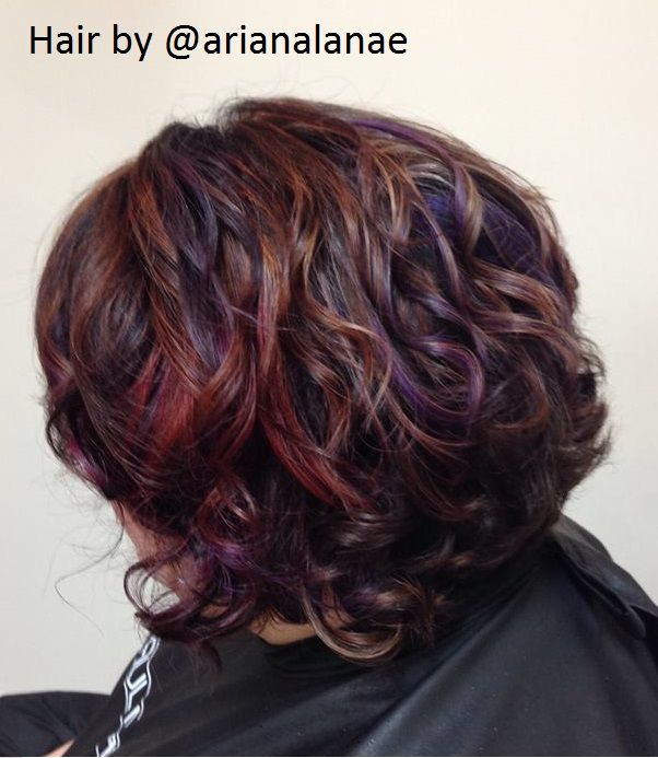 A Beautiful Dark Brown With Pink Purple And Caramel Highlights