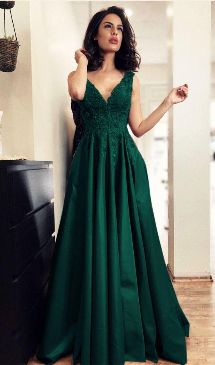 Elegant long satin aline vneck prom dress lace appliques evening