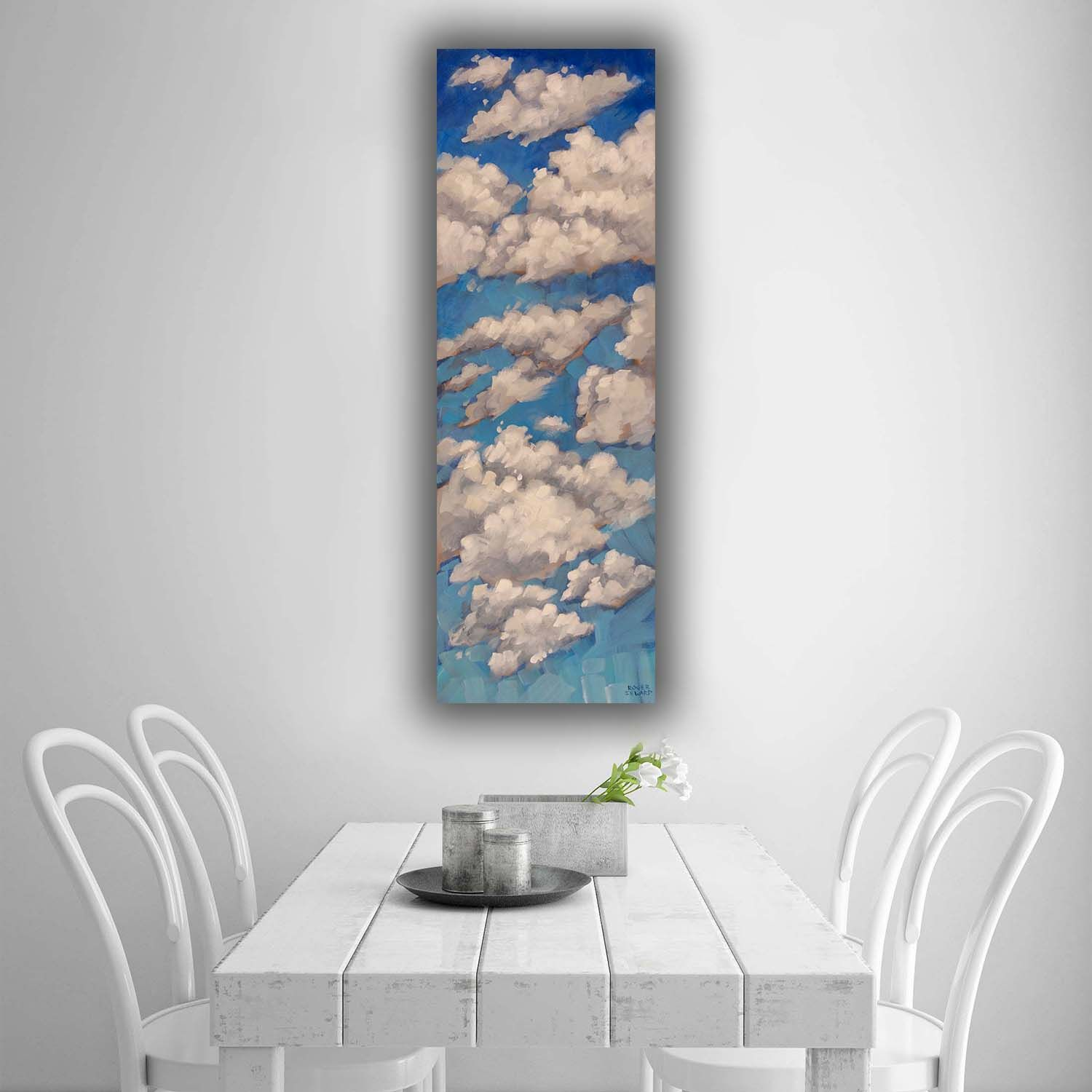 Blue Sky Clouds Painting On Narrow Tall Canvas A Great Touch Of Wall Art For Any Home Decor Style Browse O Original Paintings Cloud Painting Blue Sky Clouds