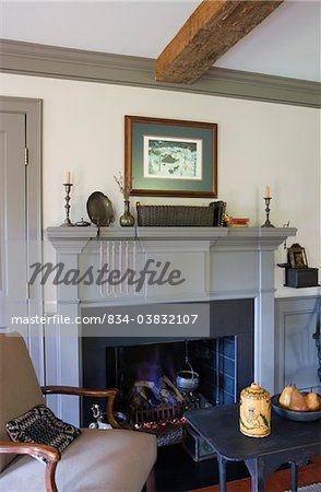 FIREPLACES: colonial style, wood fire fireplaces, grey painted ...