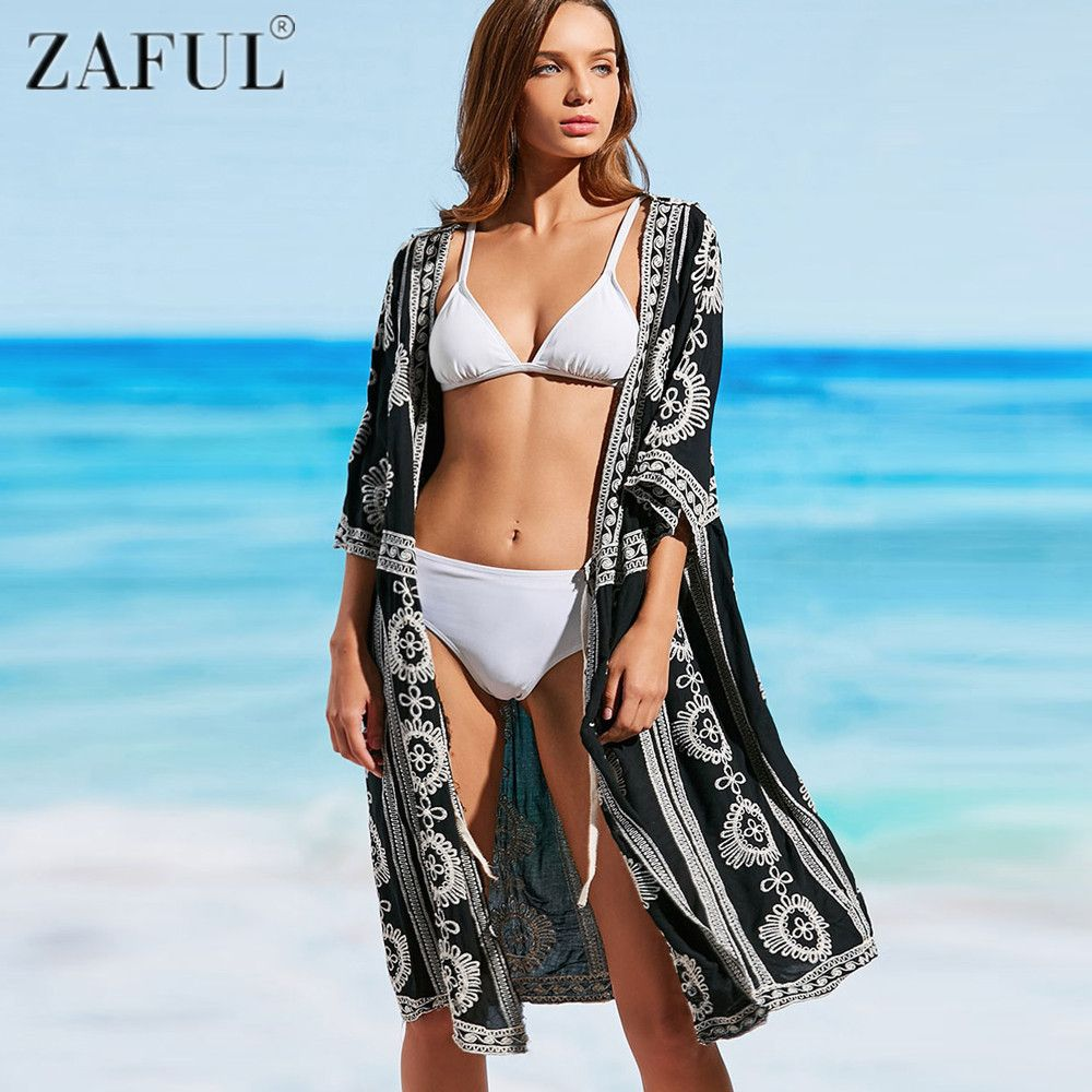 b2a46eccf625 Aliexpress.com : Buy ZAFUL 2017 Newest Pareo Beach Embroidery Bikini  Swimsuit Cover Up Robe