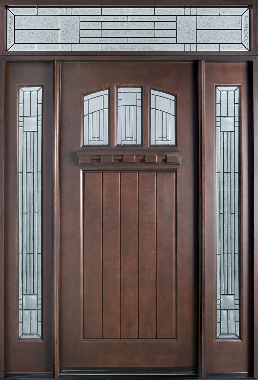 Craftsman series mahogany solid wood front entry door single with 2 sidelites db 211s 2sl tr