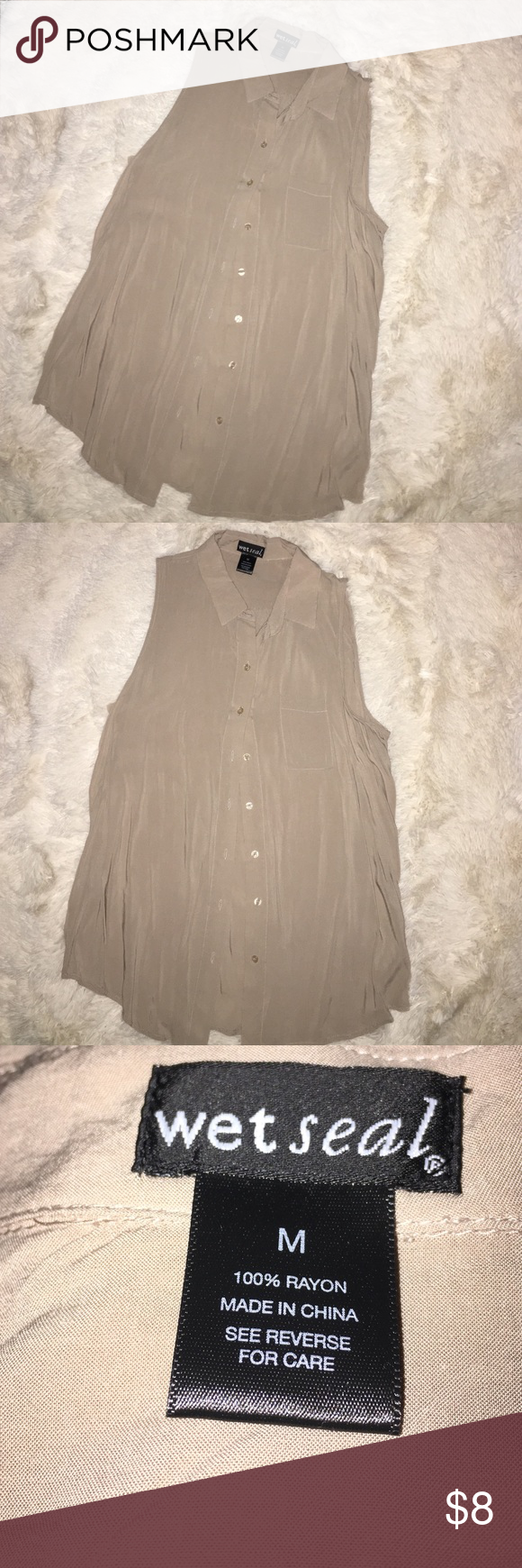 Wet Seal Womens top Blouse size Medium Tan beige color preowned good condition Button down shirt Wet Seal Tops Button Down Shirts